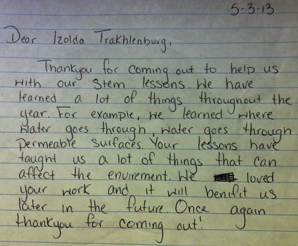Student letter thanking Izolda.